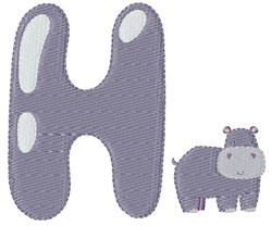 H For Hippo embroidery design