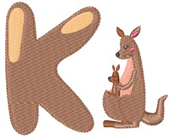 K For Kangaroo embroidery design