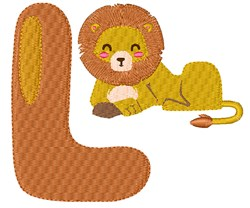 L For Lion embroidery design