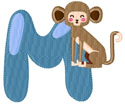M For Monkey embroidery design