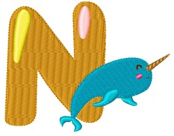 N For Narwhal embroidery design