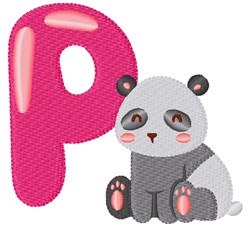 P For Panda embroidery design