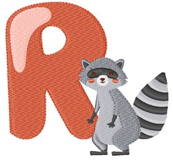 R For Raccoon embroidery design
