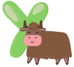 Y For Yak embroidery design