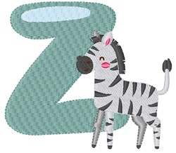 Z For Zebra embroidery design
