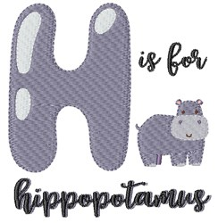 H Is For Hippopotamus embroidery design