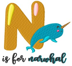 N Is For Narwhal embroidery design