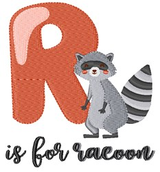 R Is For Racoon embroidery design