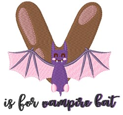 V Is For Vampire Bat embroidery design