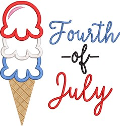 Fourth Of July Cone embroidery design