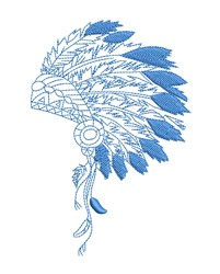 Blue Headdress Outline embroidery design