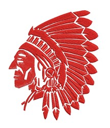Indian Chief SIhouette Outline embroidery design