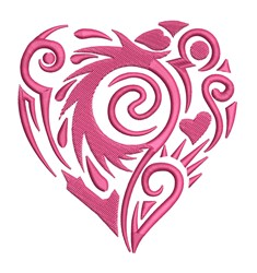 Detailed Heart Outline embroidery design