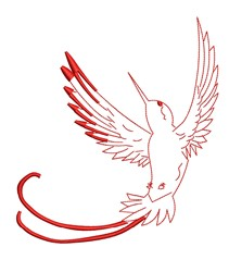 Swooping Hummingbird Outline embroidery design