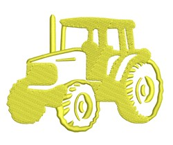 Yellow Tractor Outline embroidery design