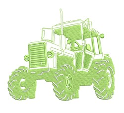 Realistic Tractor Outline embroidery design