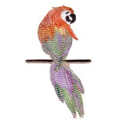 Sitting Variegated Parrot embroidery design