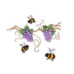 Grape Vine Bees embroidery design