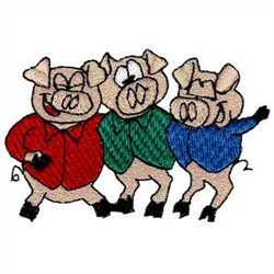 Three Little Pigs embroidery design