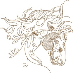 Fantasy Arabian Horse Head embroidery design