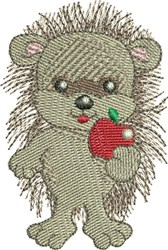 Hedgehog With Apple embroidery design