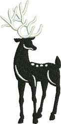 Standing Black & White Reindeer embroidery design