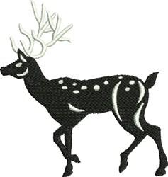 Walking Black & White Reindeer embroidery design