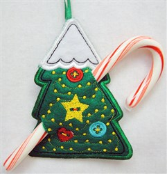 ITH Christmas Tree Candy Cane Holder embroidery design