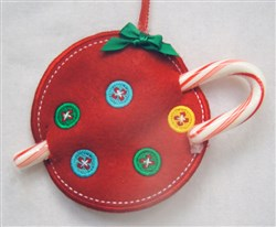 ITH Christmas Ornament Candy Cane Holder embroidery design