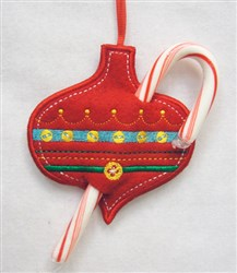 ITH Ornament Candy Cane Holder embroidery design