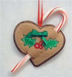 ITH Heart Ornament Candy Cane Holder embroidery design