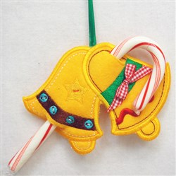 ITH Bells Candy Cane Holder embroidery design