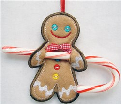 ITH Gingerbread Man Candy Cane Holder embroidery design