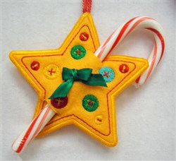 ITH Star Candy Cane Holder embroidery design