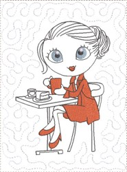ITH French Café Girly Mug Mat 3 embroidery design