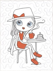ITH French Café Girly Mug Mat 9 embroidery design