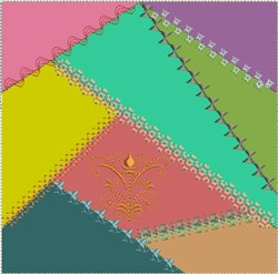 ITH Crazy Quilt Block with Crest embroidery design