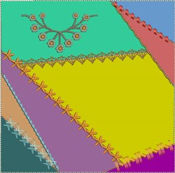 ITH Crazy Quilt Block with French Floral embroidery design