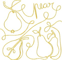 Free Motion Pear embroidery design