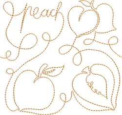 Free Motion Peach embroidery design