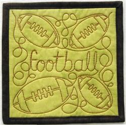 Free Motion Football Mug Mat embroidery design