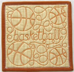 Free Motion Basketball Mug Mat embroidery design