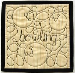 Free Motion Bowling Mug Mat embroidery design