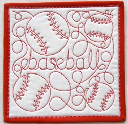 Free Motion Baseball Mug Mat embroidery design