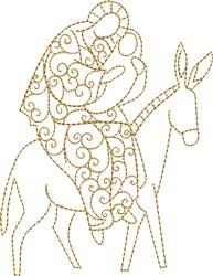 Nativity Mary on Donkey embroidery design