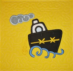 ITH Ship Applique Quilt Block embroidery design