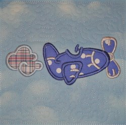 ITH Small Airplane Appliqued Quilt Block embroidery design