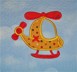 ITH Helicopter Appliqued Quilt Block embroidery design