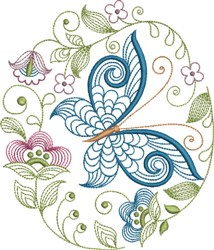 Large Hoop Jacobean Oval embroidery design