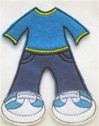 Felt Paperdoll Boys Jeans embroidery design